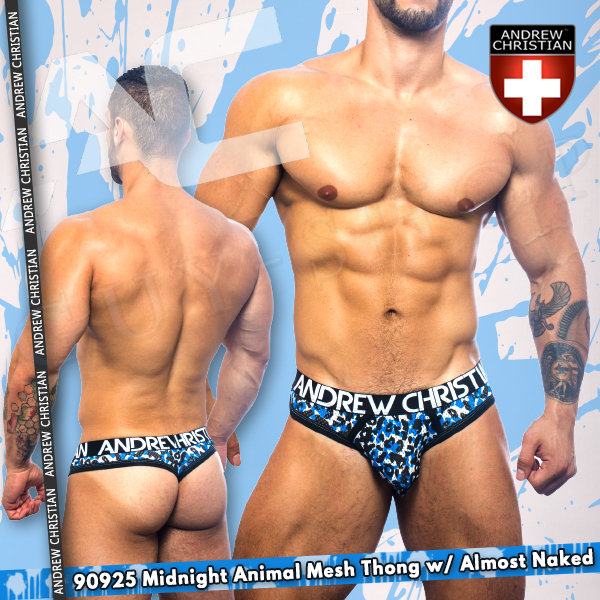 美國Andrew Christian 90925 Midnight Animal Mesh Thong w/ Almost Naked 勁裸系列午夜野獸網狀丁字褲